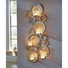 Wandteelichthalter Circle, Glasmosaik, Metall/ Glas, ca. H72 cm