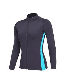Women Dri-Fit Workout Jacket- Zip Up Stretchy Active Raglan Running Jacket Coat - Blue - Clothing, Active, Track & Active Jackets Camisa Uv, Running Jacket, Athletic Women, Rockabilly, Zip Ups, Women's Clothing, Active Wear, Track, Workout