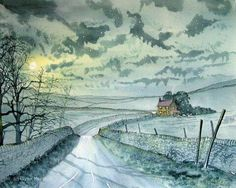 """Road to Halton Gill"" - original watercolour by Glenn Marshall. I sketched this one afternoon after a roadside picnic. It was a fairly mundane scene but once the moon came out it was magically transformed! Roadside Picnic, Yorkshire Dales, Affordable Art, Watercolor Art, Folk, Illustration Art, Scene, Fine Art, Gallery"