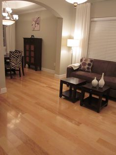 These Light Hardwood Floors Contrast Dark Brown Furniture The Lampshade And Cream Throw Are Nice Accessories