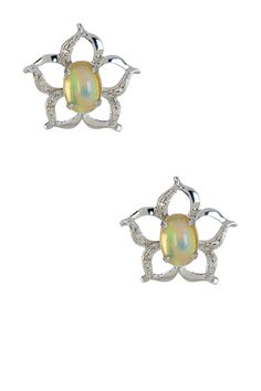 Ethiopian Opal & White Diamond Flower Stud Earrings by Savvy Cie on @HauteLook