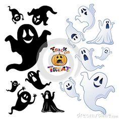 Conjunto de fantasma. Siluetas en blanco y en negro. Halloween.