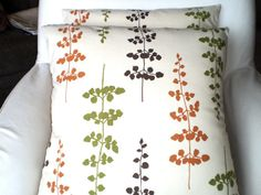 orange, green and brown pillow
