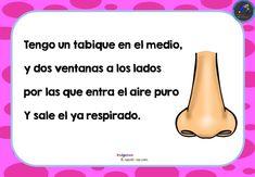 Tarjetas de adivinanzas El cuerpo Humano - Imagenes Educativas Riddles, Healthy Kids, Preschool Activities, Teaching Resources, Acting, Spanish, Homeschool, Language, Education