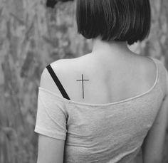Small Cross Tattoos for 2020 (Stunning Latest Designs) - Tattoo Shoo Back Cross Tattoos, Cross Shoulder Tattoos, Unique Cross Tattoos, Simple Cross Tattoo, Cross Tattoos For Women, Back Of Shoulder Tattoo, Ankle Tattoos For Women, Cross Tattoo Designs, Shoulder Tattoos For Women