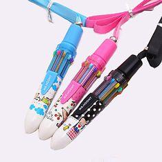 desenho padrão de 10 cores da caneta esferográfica automático (cor aleatória) – BRL R$ 3,86