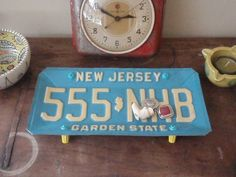 Vintage New Jersey License Plate Tray - Repurposed and Upcycled Home Decor - Garden State via Etsy.