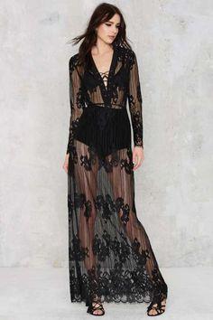 Lace Up Close Sheer Dress - Midi + Maxi
