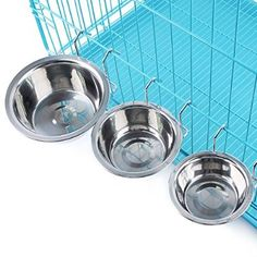 MLCINI Stainless Steel Pet Dog Cat Bowl Food Water Metal Hang Hanging Hook Mount on Cage Feeding Feeder for Small and Middle Size Pets Dogs Cats Birds Bunny (S for 3lb)