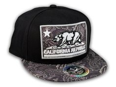 ★ This is a High Quality California Republic Bear on Black and Paisley Baseball Snapback Cap! It's an adjustable Snapback with a Paisley Flat Brim Visor, from Top Level. It has a California Republic Bear on 3D Paisley Patch with Embroidered Stitching! Bill is the same Paisley Pattern on Top and Bottom. Back says California in Raised Gray Stitching! [$12.97]