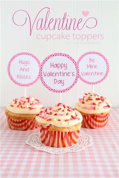 Free Printable Valentine Cupcake Toppers - Sets for both girls and boys! Such a cute way to dress up cupcakes and treats for Valentine's Day!