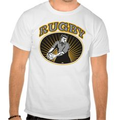 rugby passing front view ball tee shirt. retro style illustration of a rugby player passing ball viewed from front with ball. #illustration #rugby #rwc #rwc2015 #rugbyworldcup