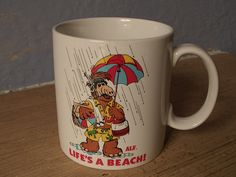 coffee mug, Alf, 1987, summer beach scene
