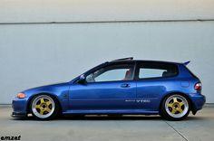 Clean Blue EG Hatch Honda Vtec, Honda Civic Hatchback, Honda Civic Si, Civic Jdm, High Performance Cars, Old School Cars, Jdm Cars, Honda Accord, Dream Cars