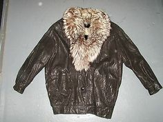 Pre Owned N'Ern Lights Bloomingdales Coat Leather w Fox Fur Sheared Mink | eBay