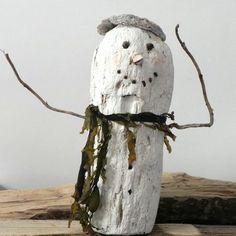 driftwood snowman, creative carved art, christmas ornamant driftwood