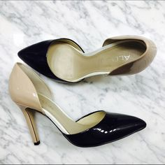 ALDO Patent Leather Shoes - 8.5 Worn only once.  Tan and black. Look great dressed up or with jeans. ALDO Shoes Heels