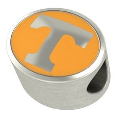 University of Tennessee Volunteers Charm Fit Most European Style Bead Charm Bracelets. Officially Licensed. Solid Sterling Silver - NOT PLATED. Fits Most Bracelet Styles Including European. Durable Colored Enamel. 12mm W x 10.5mm H x 8mm T.