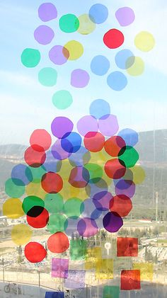 Make celophane window art circles