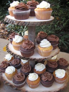 Cupcake Stand Rustic Wedding Decor by YourDivineAffair on Etsy, $69.95