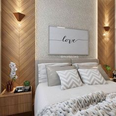 Trendy home decored ideas bedroom couple design headboards 64 ideas Bedroom Wall Decor Above Bed, Bedroom Bed Design, Bedroom Colors, Home Bedroom, Bedroom Furniture, Bedroom Decor, Furniture Ideas, Bedroom Ideas, Elegant Home Decor