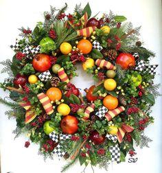 Williamsburg Fruit WreathHoliday by SeasonalWreaths on Etsy