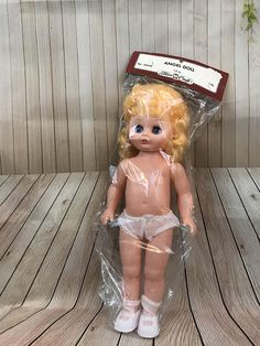 Vintage Fibre-Craft Angel Doll With Blonde Hair And Blue Eyes. New In Package. 13 Tall.