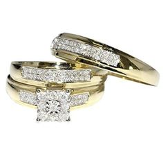 0.34ct Trio Wedding Rings Mens and Womens 10K Gold Real Diamond