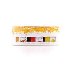 Minipack Desejo. Três sabores de toda a gama de méis Beesweet: Nº1 Citrus (sabor Limão), Nº 25 Christmas (sabor Canela), Nº 88 Fire (sabor Picante)