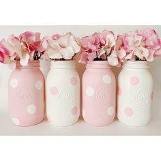 Pink Centerpieces, Mason Jar Centerpieces, Baby Shower Centerpieces, Baby Shower Decorations, Pink Decorations, Mason Jar Art, Pink Mason Jars, Mason Jar Crafts, Mason Jar Painting