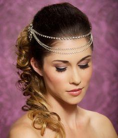 bohemian hair piece | Rhinestone Headband, Crystal Headband, crystal tiara, Bridal Halo ...