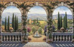 Tuscany Vineyard Serene Painting 1024x663 Tile Murals