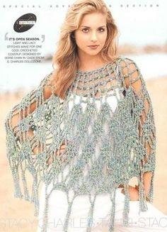 Xailes on Pinterest   Crochet Shawl, Shawl and Ponchos