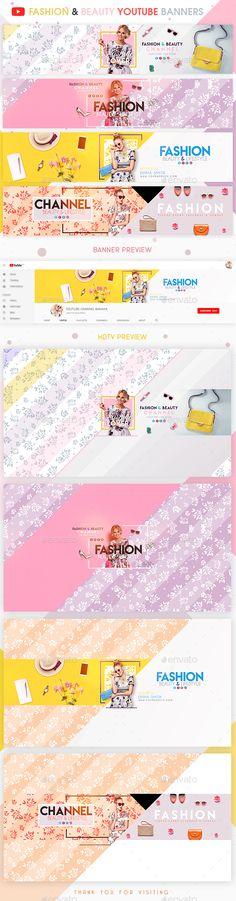 Fashion & Beauty YouTube Banners - YouTube Social Media