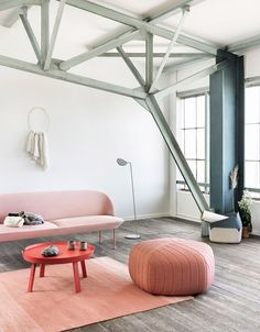 Oslo design studio Anderssen & Voll has created a collection of five-sided poufs with gently rounded corners for Danish brand Muuto.