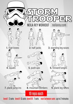 Stormtrooper Recruitment Workout / works: abductor muscle group, lower back, lateral abs, calves, quads, hip flexors, shoulders, chest, gluteus maximus #fitness #workout #workoutroutine