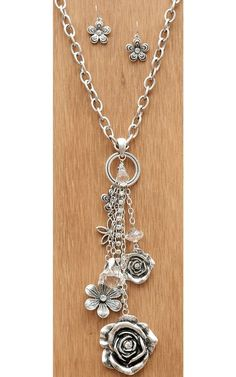 Silver Chain with Flowers & Crystals Dangle Necklace #JewelryIdeas