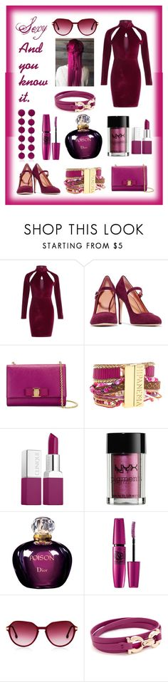 """Monochromatic - Sexy and you know it."" by queenmadhatteres ❤ liked on Polyvore featuring Halston Heritage, Salvatore Ferragamo, Hipanema, Clinique, NYX, Christian Dior, Maybelline, Steven Alan and Rebecca de Ravenel"