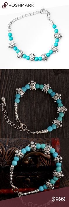 Silver Sea Turtle Turquoise Bead Charm Bracelet Brand new in original packaging. Stylish boho tibetan silver sea turtle charms mixed with turquoise stone beads. Extender chain allows for adjustable length! Made of tibetan silver metal. All sales are final, please ask all questions prior to purchasing! Jewelry Bracelets