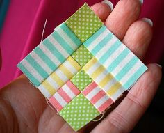 You're going to love Rainbow Flowers Mini Block by designer HopeTN. -- mini quilt block pattern, perfect way to use your smallest scraps! Quilt Patterns Free, Pattern Blocks, Free Pattern, Small Quilts, Mini Quilts, Quilting Tutorials, Quilting Designs, Paper Piecing, Diy Quilt