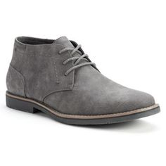 I would like a good pair of grey boots that could be worn with jeans or slacks SONOMA life + style® Men's Chukka Boots Mens Shoes Boots, Leather Shoes, Shoe Boots, Mens Grey Boots, Men's Boots, Mens Chukka Boots, Men Dress, Dress Shoes, Style Masculin