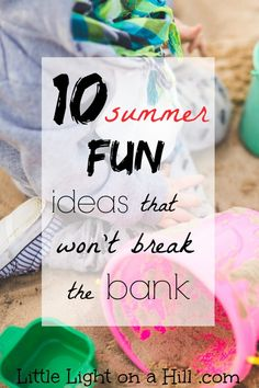 Summer break is almost here! If you are looking for ways to keep your kids busy without breaking the bank, click here for ten frugal summer fun ideas.