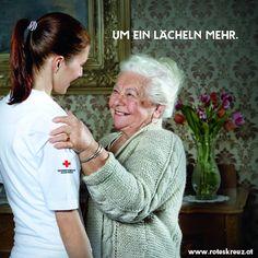 """Zufriedene pflegebedürftige Menschen, deutlich entlastete pflegende Angehörige und zufriedene Pflegende zählen bei allen Rotkreuz-Angeboten aus dem Bereich Pflege und Betreuung zu unseren Prämissen.  Im Fokus ist das """"Mehr"""", das den Unterschied macht: """"um ein Lächeln mehr"""" bei der persönlichen Betreuung, """"um die Sicherheit mehr"""" durch die Rufhilfe. Einfach """"um die Menschlichkeit mehr."""" Coat, Fashion, The Humanity, Red Cross, Safety, Crosses, Nursing Care, People, Simple"""