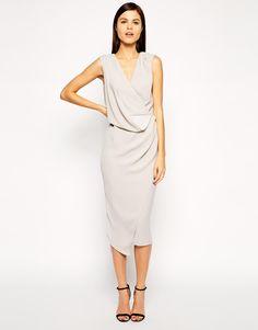Image 1 ofASOS Wrap Drape Midi Dress