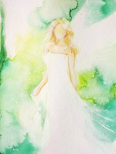 "Original angel painting ""hope"" , abstract spiritual mystic art painted with watercolors, modern contemporary artwork,green, gift"
