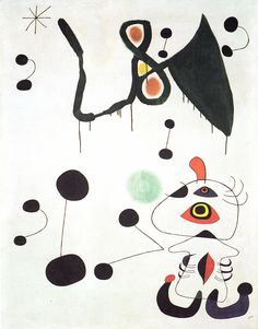 Mirò - Woman and bird into the night. 1945