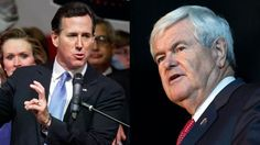3/7/2012 March 6: Rick Santorum, left, and Newt Gingrich are shown on the campaign trail on Super Tuesday. (AP)