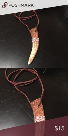 Genuine brown suede crystal horn necklace Can be double wrapped and worn short or long Jewelry Necklaces