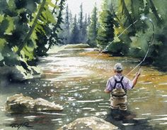 HOOKED UP II Fly Fishing Art Print Signed by by k9artgallery, $12.50