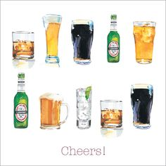 """CODE: WS299 NAME: CHEERS! PRICE: £1.75 Buy now: https://www.phoenix-trading.co.uk/web/km43704/area/shop-online/category/food-and-drink/product/WS299/cheers/ Presentation: Embossed images, with a white 100 gsm envelope. Blank for your own message Paper Type: Matt Textured Artist: Matthew Haydn Jeanes Size: 5 x 5"""" : 127 x 127mm"""